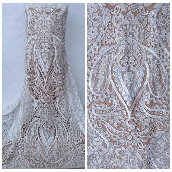 New fashion white wedding dress lace fabric hollow for White lace fabric for wedding dresses
