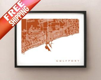 Gulfport Map Print - Mississippi Art Poster