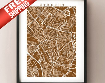 Utrecht, Netherlands City Map Art Poster Print - Choose your colour