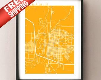 Laramie Map Print - Wyoming Poster