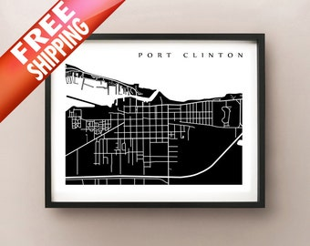 Port Clinton Map - Ohio Poster Print
