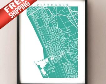 Viareggio Map Print - Free Shipping