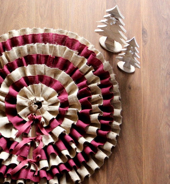 "Ruffled Burlap Tree Skirt 40"" - 52'' -Christmas tree skirt - Rustic tree skirt - Burlap tree skirt - Choose diameter - DHL Shipping"