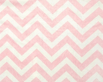 "20% OFF SALE FABRIC Remnant - Minky Cuddle Chevron Blush/White - Minky - 23""x 32"""