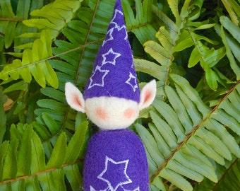 Elf Ornament ~ Decoration ~ Christmas ~ Holiday Stuffed Santa's Elf Purple Felt with Stars