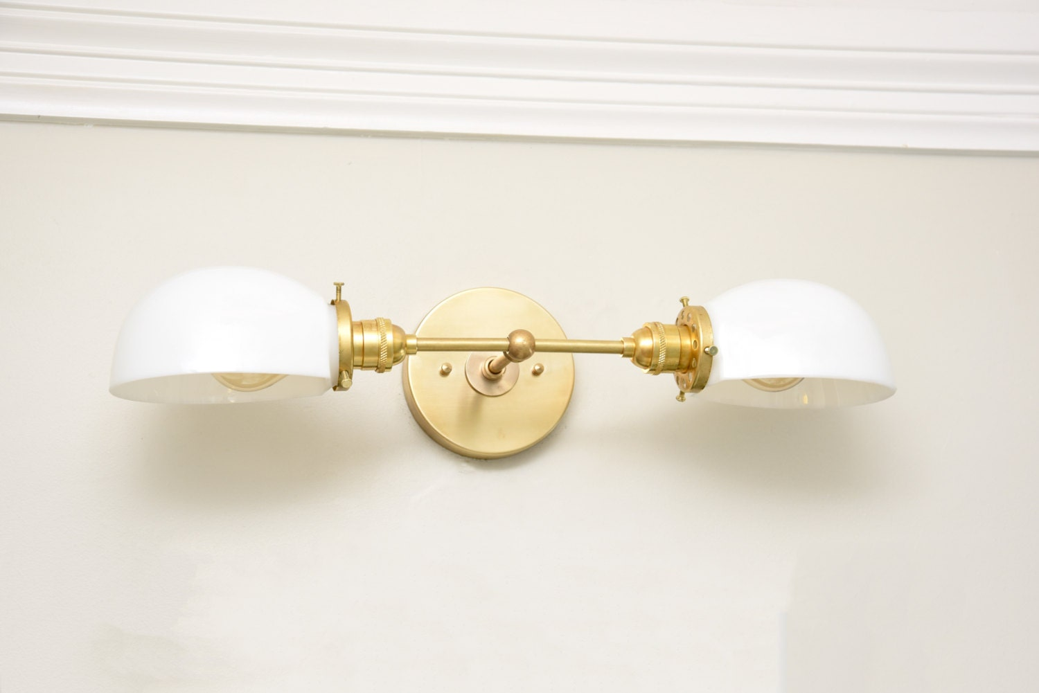 Free Shipping! Wall Sconce Vanity Gold Brass 2 Bulb With White Opal Glass Shades Modern Mid ...