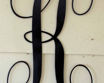 "12 inch Black Script Metal Letter ""K"" Door or Wall Hanging"