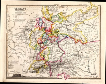 1853 Germany Antique Map Hand Colored Geography Cartography Atlas Maps