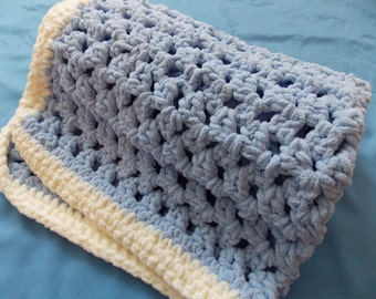 Super Chunky Blue Baby Blanket