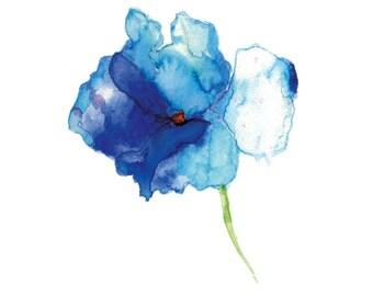 Watercolor flower print, Flower painting, Flower Art Print from Original Painting, Abstract flower, Blue flower, Watercolor art