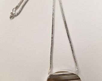 Sterling Silver Landscape Agate Necklace