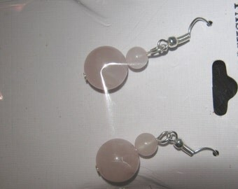 ROSE QUARTZ BEAD earrings size of main bead is 12 mm
