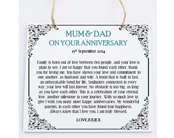 Personalised Mum & Dad Anniversary Wooden Plaque