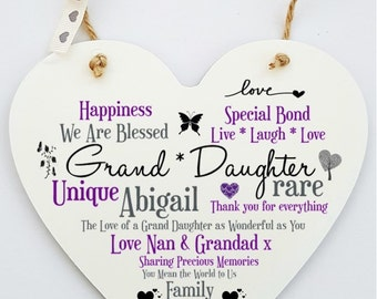 Personalised Grand Daughter Hanging Heart Sign Plaque.