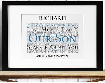 Personalised Son Framed Word Art