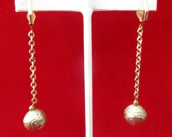 Pair of Antique 2 1/2-Inch Brass Earrings