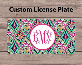 custom monogram license plate lilly pulitzer inspired license plate personalized car tag license - Monogram License Plate Frame