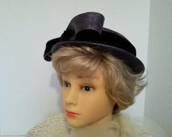 Vintage Blue Straw Boater Hat, H. Leh & Co