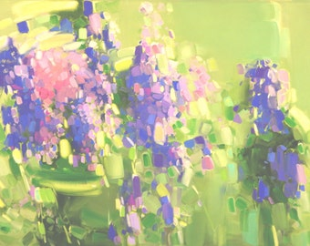 Lavenders Abstract oil Painting One of a kind Hand painted Artwork Contemporary art Signed with Certificate of Authenticity Extra Large Size