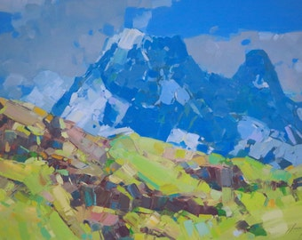 Landscape Switzerland Alps Original oil Painting on Canvas  One of a Kind Impressionism Signed with Certificate of Authenticity