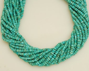 Natural turquoise rondells  13""