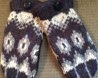 C7    Felted wool mittens   Lined woth fleece   Size large