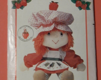"Butterick 6173 Vintage 21"" tall Strawberry Shortcake doll pattern Uncut"