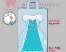 NEW!! EDITABLE ELSA Frozen Gift Bag Fronts, Git Bag Front Printable for Frozen Birthday