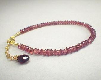 Rhodolite Garnet bracelet ! Rhodolite Garnet rondelles and briolette, gold filled chain and clasp, Minimalist ,Stacking bracelet