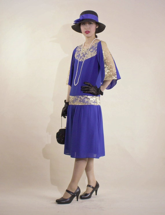 20s flapper dress with 3/4 length sleeves in sapphire blue and gold lace Roaring Twenties costume Great Gatsby dress Downton Abbey dress $140.00 AT vintagedancer.com