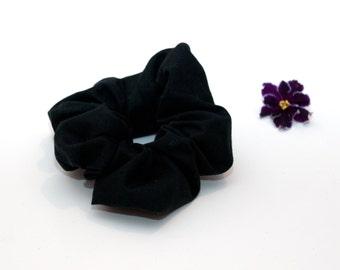 Black Hair Scrunchie - zwarte Scrunchie - handgemaakte Scrunchy - katoen Scrunchie - Cheerleader - paardenstaart - haaraccessoires