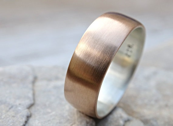 Mens Bronze Wedding Ring Domed Bronze Ring Silver Mens Ring