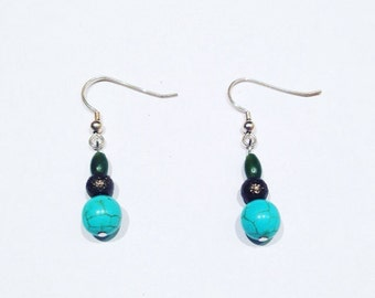Jade and Turquoise Sterling Silver Dangle Earrings