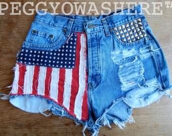 VTG PEGGYOWASHERE Highwaist cut off festival faded denim shorts studded American Flag