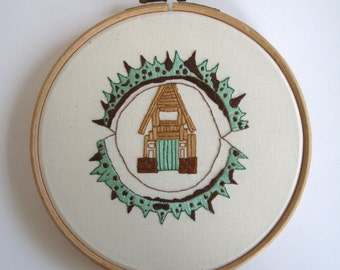 Conker Cabin embroidery