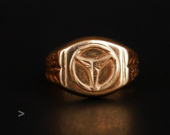 Retro Vintage Mercedes Men Unisex Ring Solid 14k Gold Size