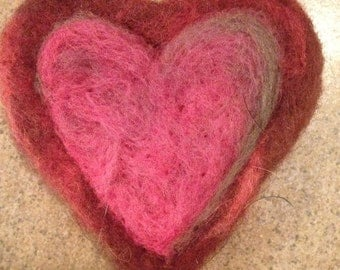 Needle Felted Red and Pink Heart Pin