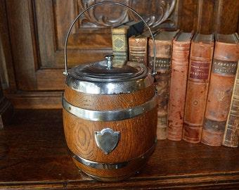 Antique English Biscuit Barrel Oak Wood Chrome Cartouche Shield