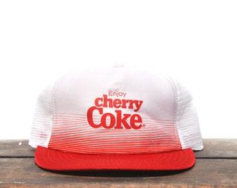 Awesome 80's Vintage Enjoy Cherry Coke Coca Cola Soda Pop Drink Trucker Hat Snapback Baseball Cap