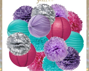 Purple, Silver, Pink, Turquoise and Berry Frozen Winter Pom Poms and Lanterns Set
