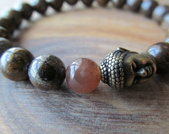 Buddha, Sunstone and Bronzite Bracelet for Women or Men, Stacking Bracelet, Men's Bracelet, Mala Bracelet, Layering Bracelet, Men's Jewelry