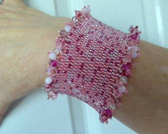 Shades of Pink Cuff Style Bracelet