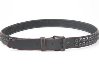 "1-1/2"" (38mm) wide Genuine Leather Belt with 2 rows Black 1/2"" (13 mm) PY77 Pyramid Studs Studded Spiked Made in U.S.A. NYC"