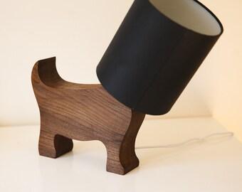 Walnut Dog Lamp