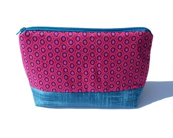 Cosmetic bag, Zipper pouch, dark blue, black, typography