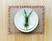 Burlap Holiday Placemats with Hand-Printed Brush Stroke Boarder in Red.  Set of 4 or 6 Christmas Placemats.