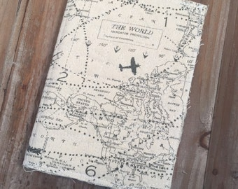 Travel journal, travel diary, travel scrapbook, fabric journal, scrapbook, junk journal
