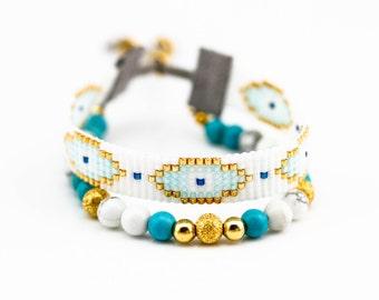 Evil's eye beadloom bracelet.