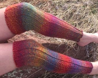 Hand Knit Rainbow OTK Leg Warmers
