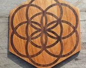 Seed of Life Reclaimed Wood Crystal Grid - Black Walnut in Red Alder